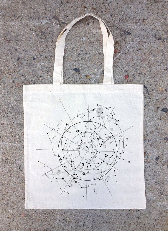 Tote Bag  Celestial Map of the Night Sky door CrawlspaceStudios