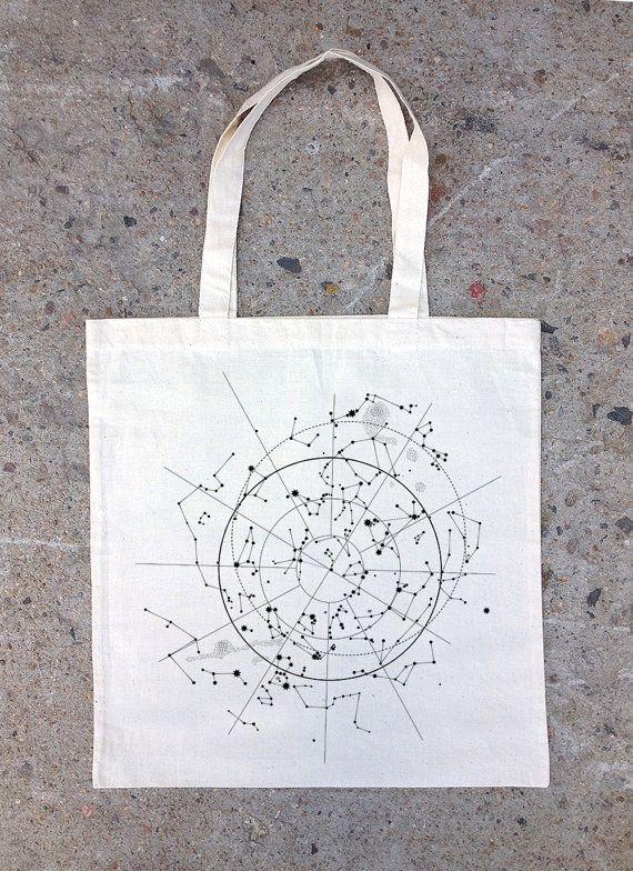 Tote Bag  Celestial Map of the Night Sky door CrawlspaceStudios