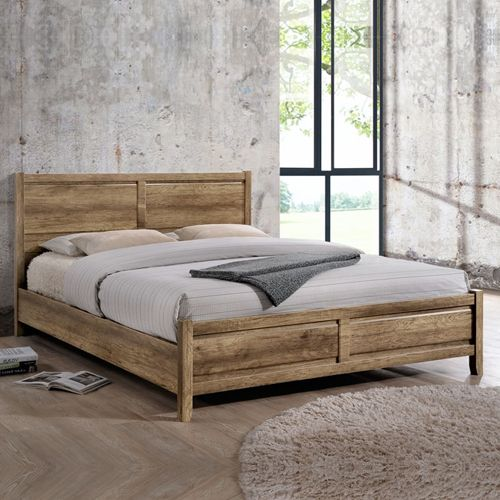 Alice Natural Wood like MDF Bed with Strong Legs