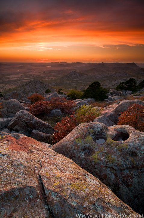 One of my favorite places in the world! Mt. Scott Sunset, Wichita Mountains National Wildlife Refuge, Oklahoma, USA......this is wayyyy too beautiful for words!!!