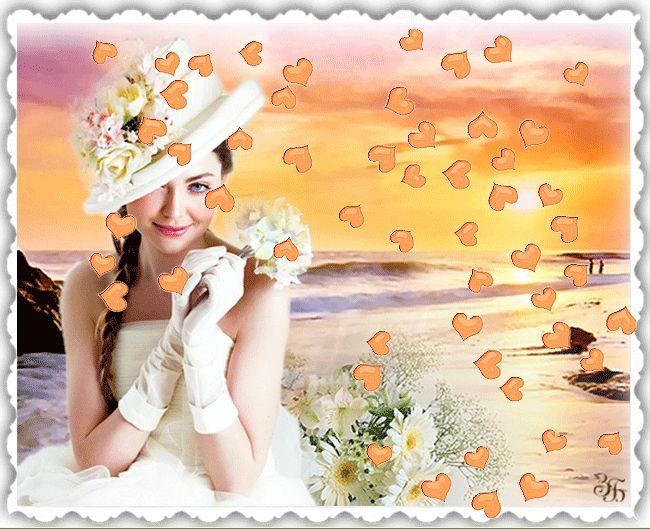 Красивая анимация, анимационная картинка, картинка, открытка, изображение девушки от Зоя Березка Девушка в белом платье, берег моря, сердечки