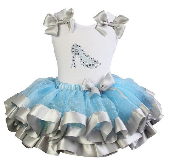Cinderella Ribbon Trim Tutu Outfits - Cute 2 Piece Cinderella Slipper Satin Trimmed Halloween Tutu Outfit For Toddler Girls, Little Girls