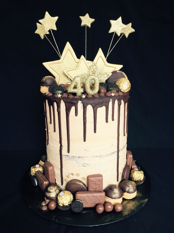 Mocha chocolate drip cake for 40th birthday                              …