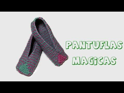 Cómo tejer pantuflas en dos agujas para principiantes - YouTube