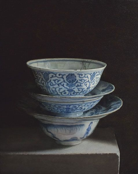 Still life with bowls. 2011. Oil on panel. Painting by Uzbekistan artist Erkin