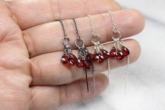 Wire Wrapped Briolette Garnet Earrings Sterling Silver 925 January Birthstone