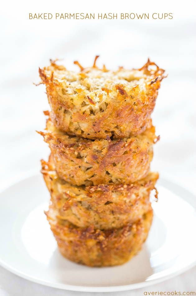 Baked Parmesan Hash Brown Cups - Easiest hash browns ever! No stovetop flipping…