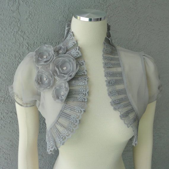 Wedding Bolero Shrug Gray Chiffon  With Flowers by Chuletindesigns, $65.00