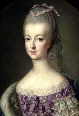 Marie Antoinette in a lovely lavender gown.