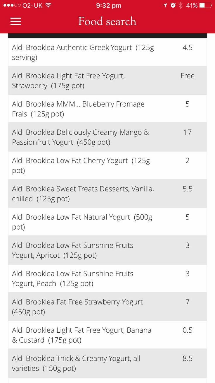 Yoghurt syns of aldi brooklea slimming world