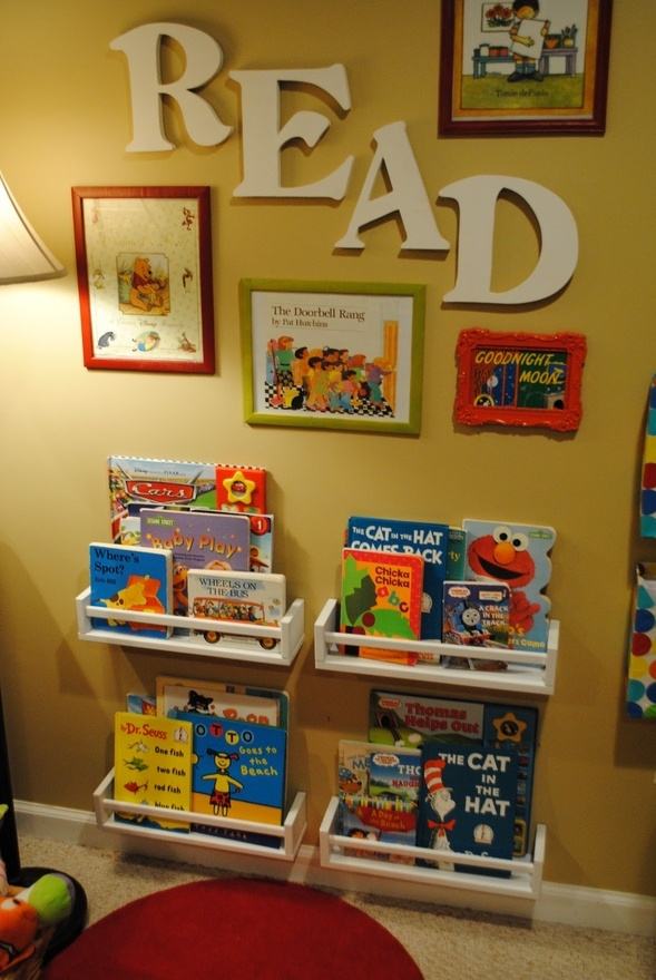 love the idea of framing covers/pages of favorite books. shelves are spice racks from ikea.Bookshelves, Reading Area, Kids Room, Playroom, Spices Racks, Reading Corner, Book Shelves, Reading Nooks, Spice Racks