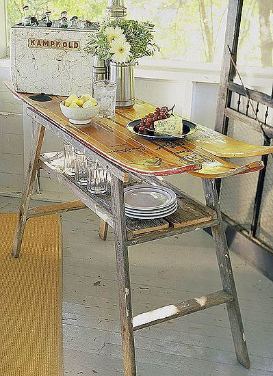 Redecorating by Repurposing • Lots of Ideas and Tutorials! • Including this idea from bhg to turn old skis into a table top.