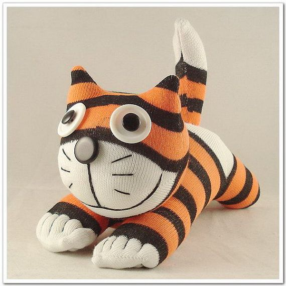 Handmade Sock Cheshire Cat Kitty Stuffed by supersockmonkeys, $10.99