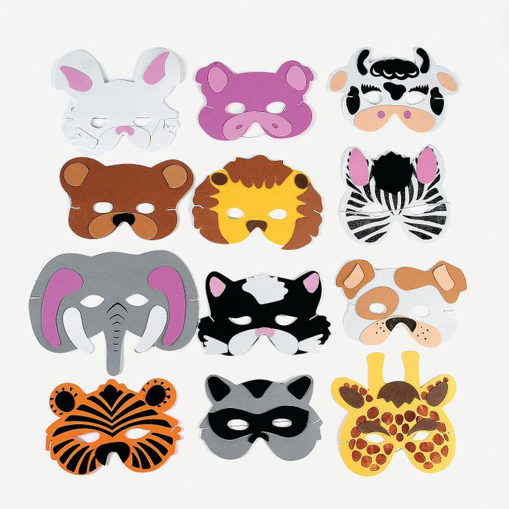 "Have a wild time at the party with these Animal Masks! Wear one of these fun foam animal masks and you'll be the king or queen of the jungle.  Going to the zoo? Wear a mask and monkey around with the rest of the animals! Each mask comes with an elastic band. Child size. 7"" - 10 1/2"" © OTC"