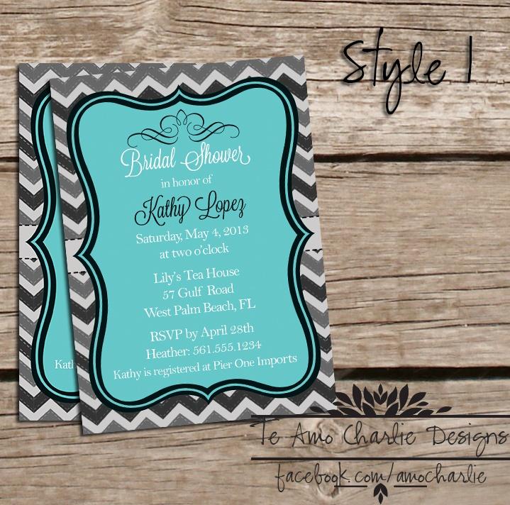bridal shower invitations registry etiquette%0A Bridal Shower Invitations by Te Amo Charlie
