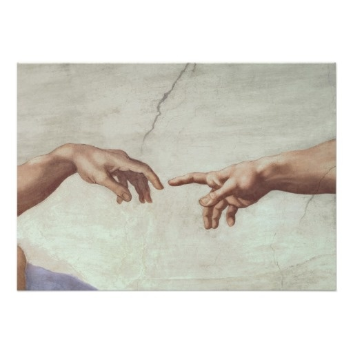 Hands of God and Adam Posters, from the Sistine Chapel ceiling, by Michaelangelo Buonarroti. Location: Vatican Museum, Vatican City, Italy.