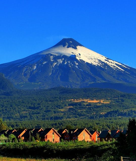 Pucon, Chile. and Villarrica volcano.
