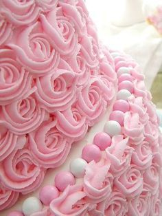 Two tiers of perfectly pink rosettes ~ My Sweet Things