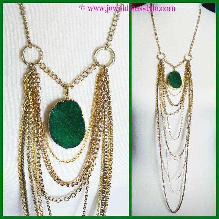 JDS - DESIGNER INSPIRED - Emerald Lights necklace made by me - http://jeweldivasstyle.com/designer-inspired-emerald-lights-necklace/