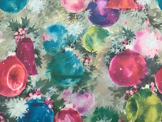 Vintage Christmas Wrapping Paper by Hallmark - Colorful Vintage Christmas Ornaments on the Tree - 1 Unused Full Sheet Christmas Gift Wrap