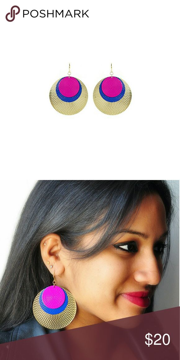 Amrita Singh  fushia solita drop earrings finished with lustrous flair, these statement earrings frame your frame your face colorful style. gold-pleated brass Amrita Singh Jewelry Earrings