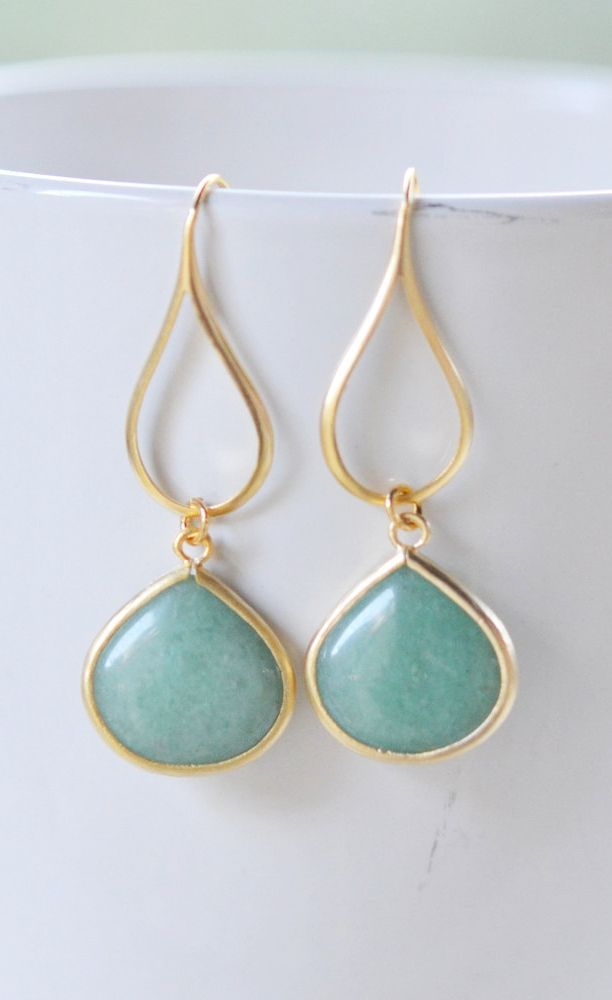 Gold Sage Green Drop Earrings.
