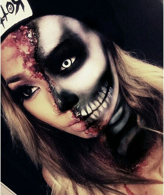 Awesome half skull makeup special effects idea / Looks great paired with one with contact lens with black limbal ring ~ http://www.pinterest.com/pin/350717889705820283/