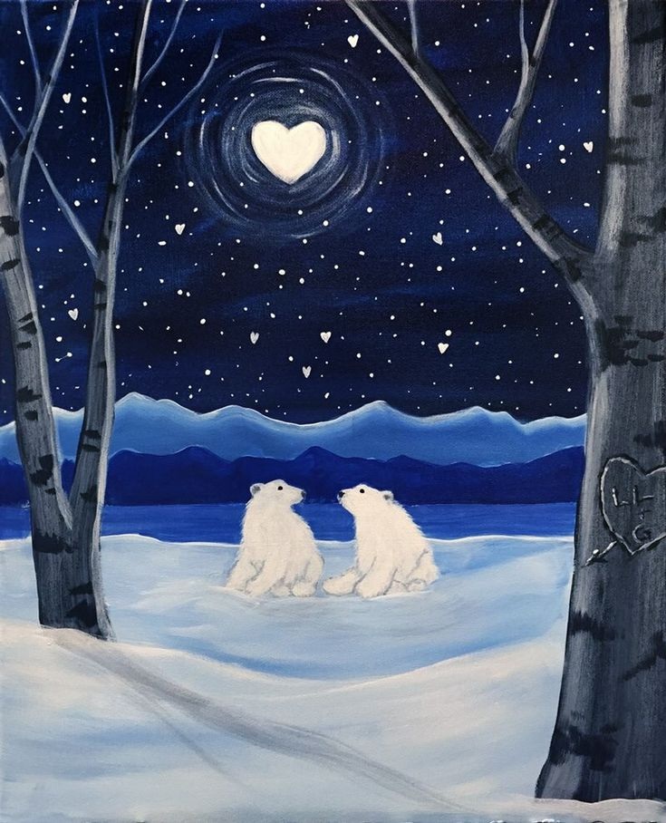 Paint nite. cool easy beginner painting idea. Even without the Polar bears, this would be adorable. Heart moon, stars, snow, mountains and trees, all easy to paint. Please also visit www.JustForYouPropheticArt.com for more colorful art you might like to pin. Thanks for looking!