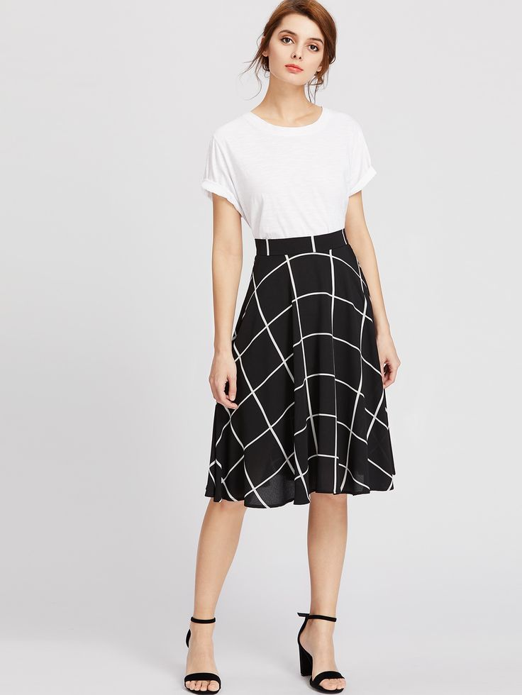 Shop Grid Print Circle Skirt online. SheIn offers Grid Print Circle Skirt & more to fit your fashionable needs.