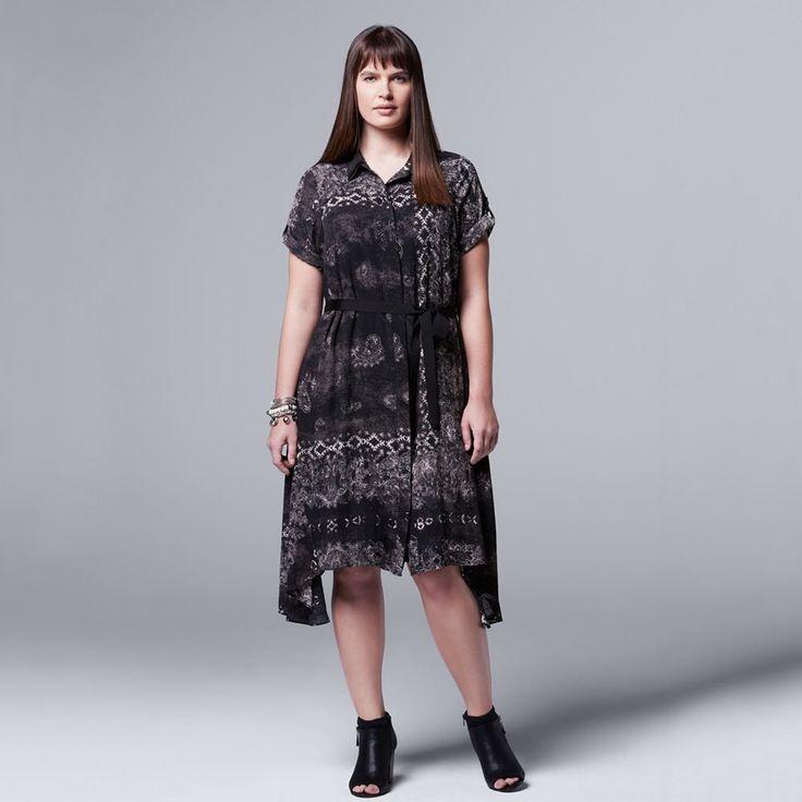 Plus Size Simply Vera Vera Wang Paisley Asymmetrical Shirtdress, Women's, Size: 3XL, Black