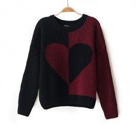 Red Black Long Sleeve Heart Pattern Knit Sweater #celeb16 #sweater