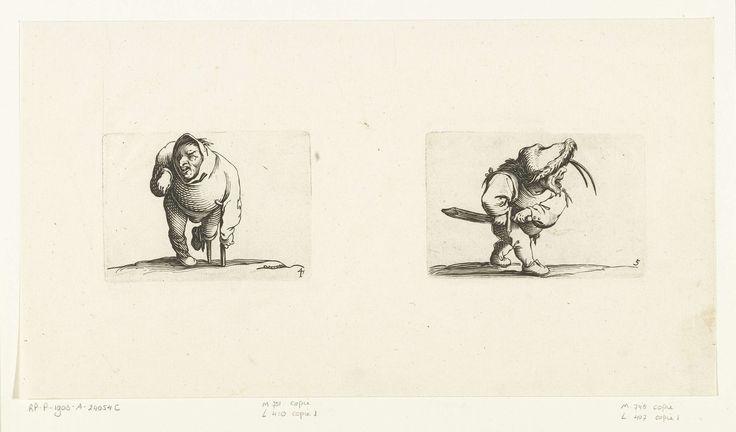 Jacques Callot | Dwerg met kruk en beensteun; Dwerg met zwaard, in aanvallende houding, Jacques Callot, Abraham Bosse, 1621 - 1676 | Links: dwerg, van voren gezien, steunend op een kruk, een capuchon of grote kraag op het hoofd, de rechterarm verkrampt opgetrokken, het linkerbeen op een beensteun. Rechts: dwerg, op de rechterzijde gezien, een slappe hoed met bontrand op het hoofd, de rechterhand aan de schede van zijn zwaard, de linkerhand aan het gevest. Deze beide prenten, naast elkaar op…