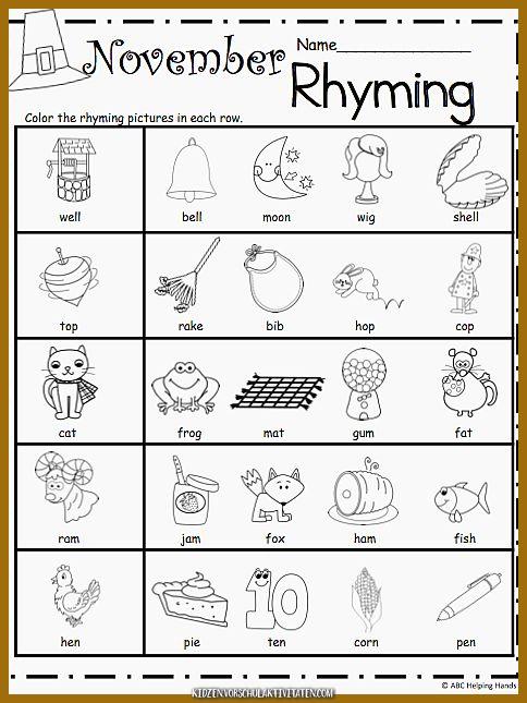 Free Kindergarten Rhyming Worksheets for November ...