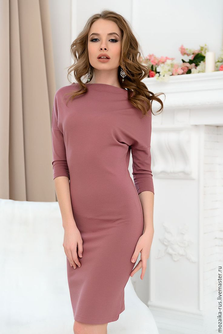 Купить Платье-труба цвета пыльной розы - розовый, однотонный, платье, платье в офис