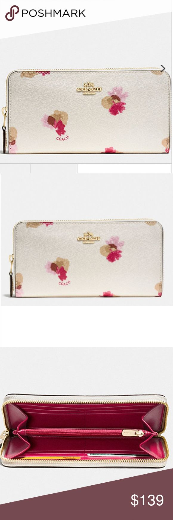 """Sale Host Pick 🌷Coach floral  Accordion wallet Best in bag Host Pick🌷🌱🌷🌱🌷Perfect for the summer, this Coach accordion wallet has a beautiful twist with its floral print making it perfect for the summer. A trendy, feminine with a romantic flair.  Features: Printed coated canvas Twelve credit card slots Full-length bill compartments Zip coin pocket Zip-around closure 7 1/2"""" (L) x 4"""" (H) Fits all phone sizes up to an iPhone 7 Plus and Samsung S7 Edge Coach Bags Wallets"""