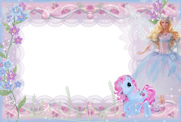 Girls Kids Transparent Frame with Barbie and Pony