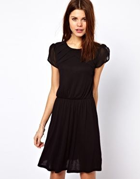 Asos : Warehouse Pleat Yoke Mini Dress $63.32 - this is cute~ and it looks longer than most~ wonder if it can hold a petti~~