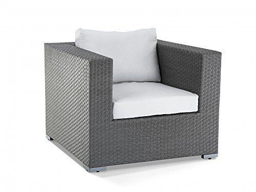 rattan garden furniture single chair with cushions maestro grey