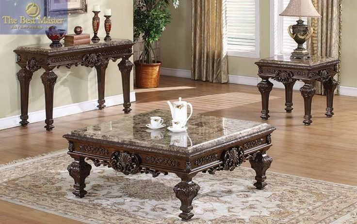 3 PCs. Traditional Coffee Table Set with Marble Top