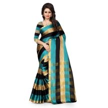 Madhav Retail - Golden,green And Black, Cotton Sarees With Unstiched Blouse Piece