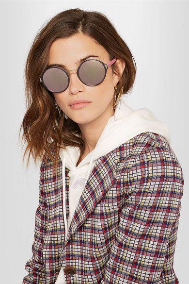 ccaaa723fac Prada - Round-frame Acetate And Gold-tone Mirrored Sunglasses ...