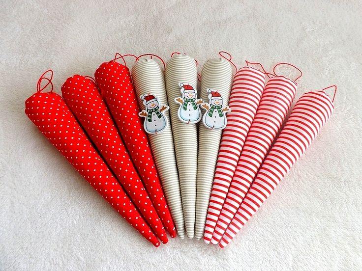Sople na choinkę -komplet 9 sztuk w Czary mary z materiału na DaWanda.com