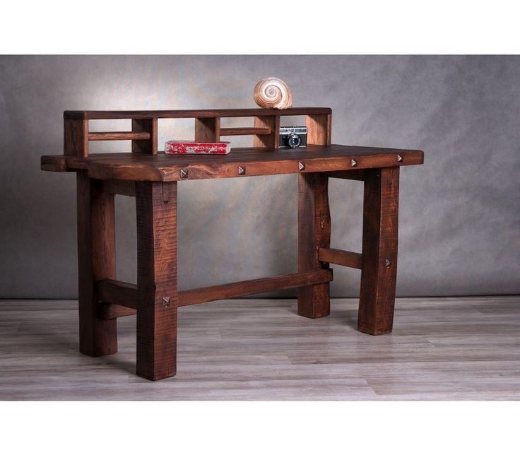 """""""Flank"""" rusztikus íróasztalasztal, csokoládé színben."""