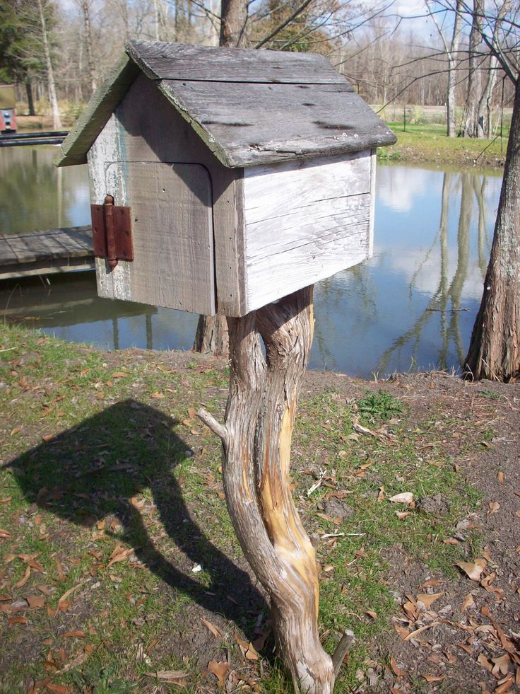 Cypress mailbox on cedar branch post, $45.00, 1 left  Custom Orders Taken!!!