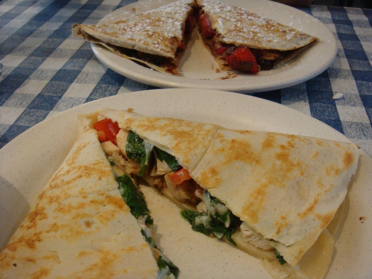 these are crepes from my favorite brunch spot in Boston - crispy crepes cafe - strawberries and Nutella, and a Tuscan crepe with pesto chicken, mozzarella, spinach, and tomatoes... yummmm