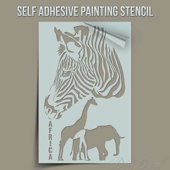 Africa Symbols and Animals  - One Time Use Self-Adhesive Wall Painting Stencil, Art Stencil, Airbrush Stencil, Paintining stencil