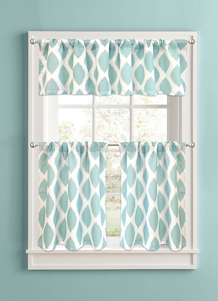 Better homes and gardens aqua ikat diamonds 36 tier Better homes and gardens curtains