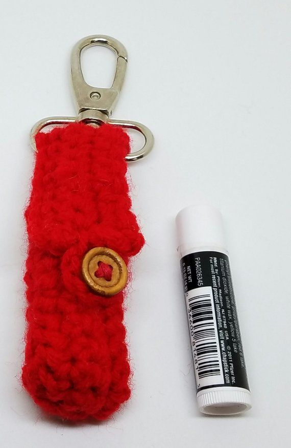 Crochet Red Chapstick Holder Lighter Holder Backpack Accessories