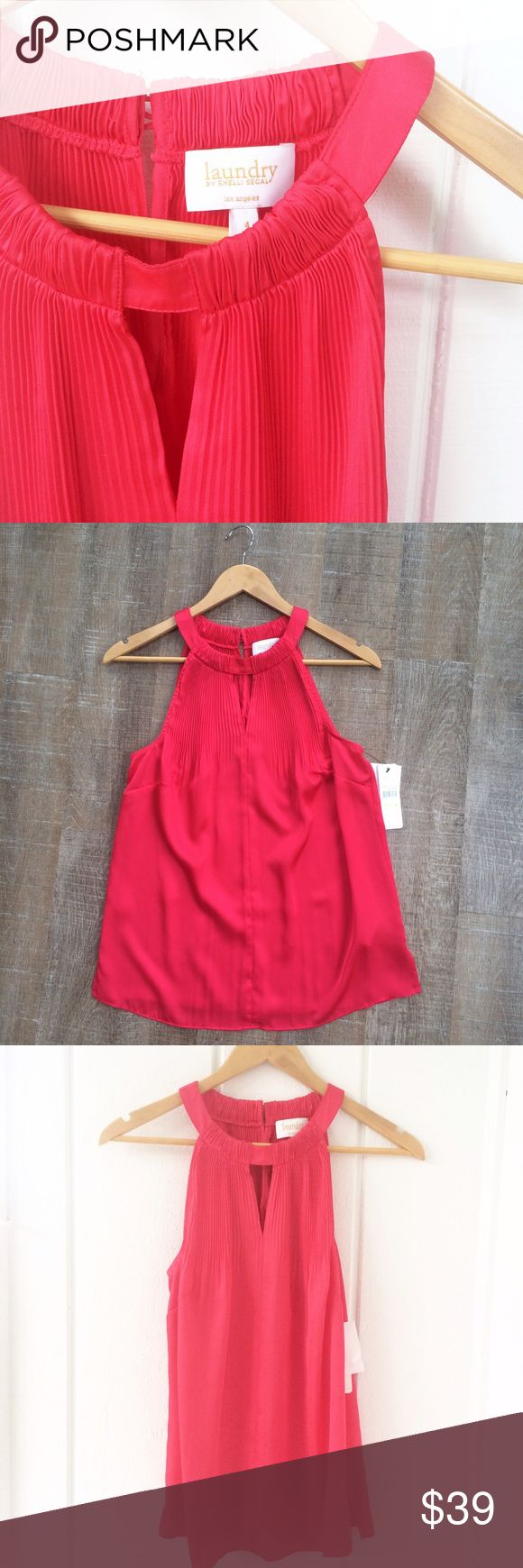 """NWT! Laundry by Shelli Segal spring top Perfect for spring! NWT! Shelli Segal 100% polyester sleeveless top. """"Geranium"""" color. Size 4. Offers welcome! Laundry by Shelli Segal Tops"""