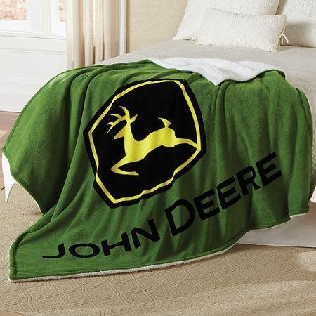 John Deere Logo Sherpa Fleece Blanket